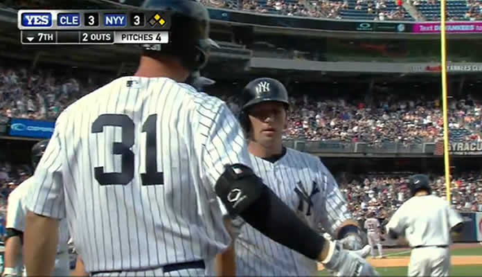 Carlos Beltran hits a ground-rule double to left, scoring two runs to tie the game at 3 on August 24, 2015 at Yankee Stadium