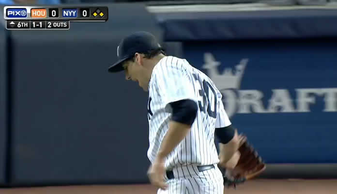 Nathan Eovaldi pitches eight scoreless innings, allowing just four hits and strikes out seven Astros batters on August 24, 2015 at Yankee Stadium