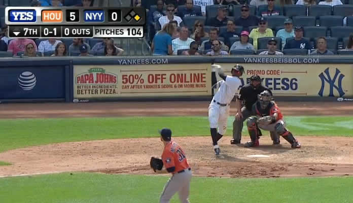 Didi Gregorius hammers a two-run shot to the second deck in right field to cut the Yankees' deficit to three runs in the 7th at Yankee Stadium on August 26, 2015