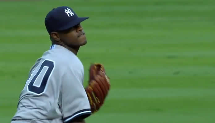 Luis Severino shuts the Braves out over six innings, allowing four hits and three walks while striking out five in Atlanta on August 29, 2015