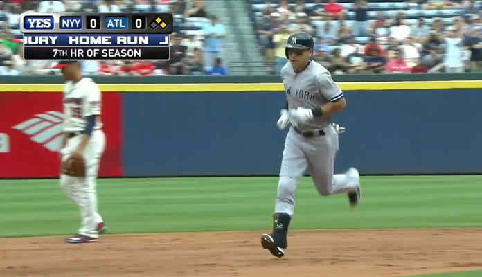 Jacoby Ellsbury launches a three-run homer to right field, scoring Stephen Drew and Nathan Eovaldi to give the Yankees a 3-0 lead at Atlanta on August 30, 2015