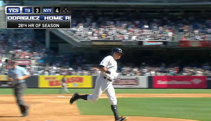 Alex Rodriguez belts a solo home run over the right-field wall to give the Yankees a 4-3 lead in the 6th inning at Yankee Stadium on September 6, 2015