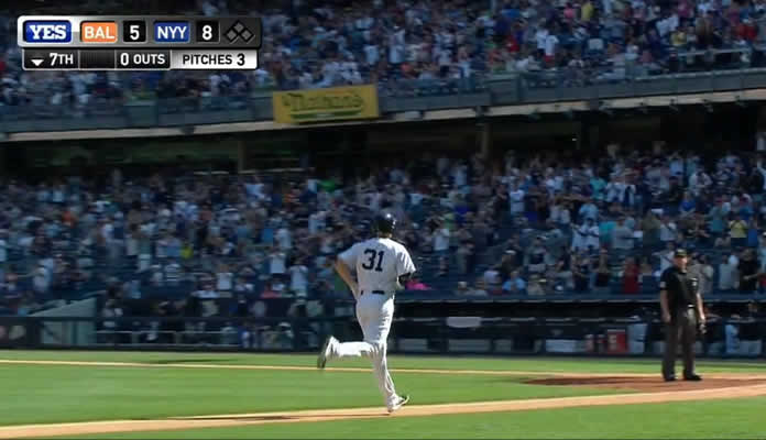 Greg Bird crushes a three-run home run to right-center field to give the Yankees an 8-5 lead in the bottom of the 7th inning at Yankee Stadium on September 7, 2015