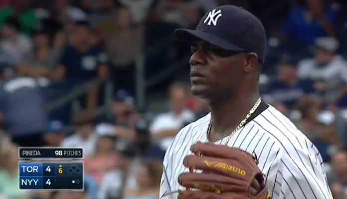 Michael Pineda on the mound against the Blue Jays at Yankee Stadium on September 12, 2015