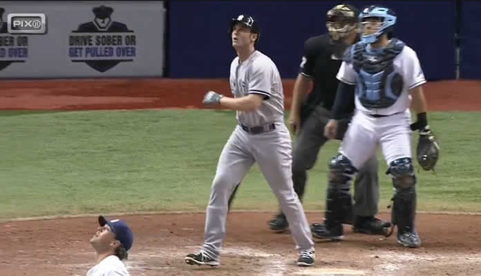 Greg Bird unloads on an Andrew Bellatti offering, clobbering a solo blast off a catwalk in deep right to add to the Yankees' lead at Tropicana Field on September 16, 2015