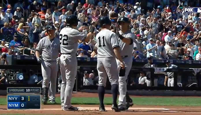Carlos Beltran hits a three-run homer into the second deck to quickly open the scoring in the top of the 1st inning at Citi Field on September 20, 2015