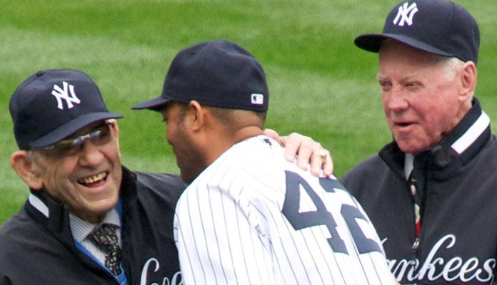 Yogi Berra, Mariano Rivera, Whitey Ford at Yankee Stadium on Old Timers Day 2010