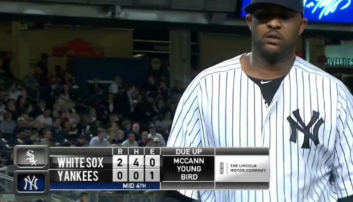 CC Sabathia gets Gordon Beckham to ground into a 5-4-3 double play to escape a scoring threat in the 4th at Yankee Stadium on September 25, 2015