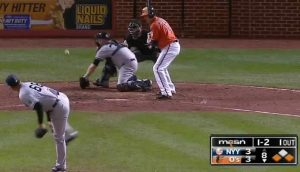 Paul Janish comes home to score the go-ahead run on Dellin Betances' wild pitch in the bottom of the 8th inning at Camden Yards on October 3, 2015