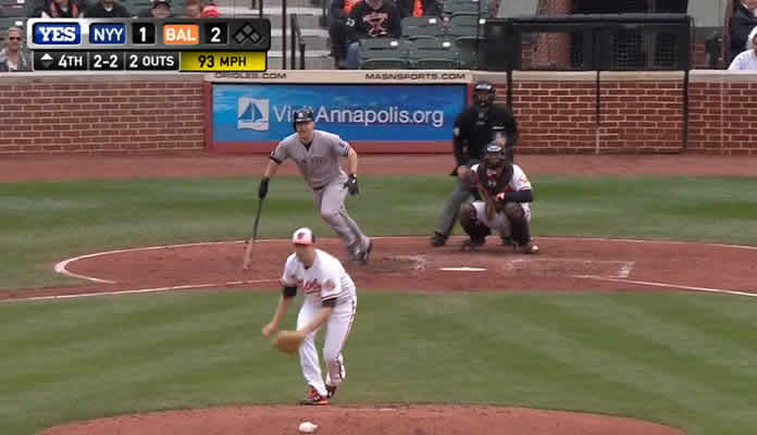 Dustin Ackley lines a triple past Nolan Reimold to get into scoring position with two outs in the top of the 4th inning at Camden Yards on October 4, 2015