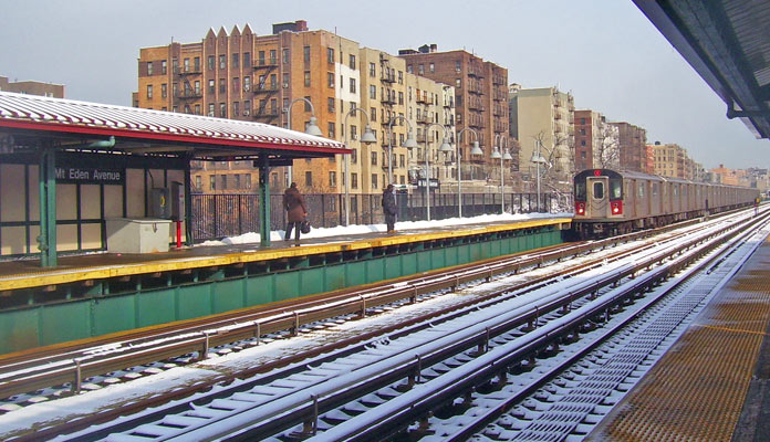 The #4 Train rumbles through The Bronx on a winter day