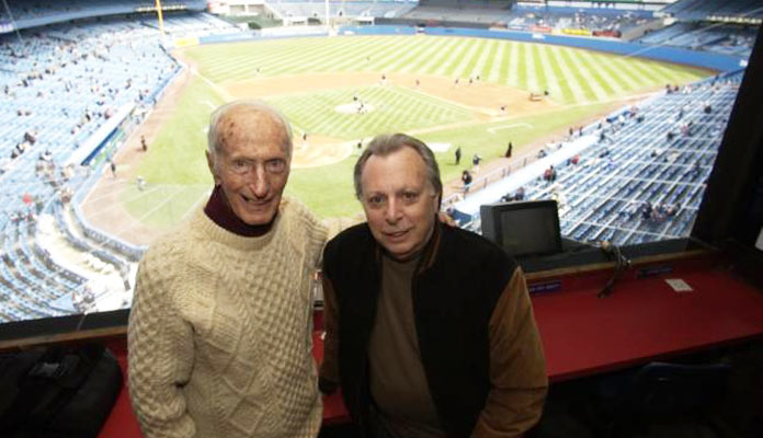 Legendary Yankees PA Announcer Bob Sheppard (left) and legendary reporter Phil Pepe