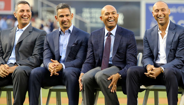 Andy Pettitte, Jorge Posada, Mariano Rivera and Derek Jeter share a laugh on Bernie Williams Day