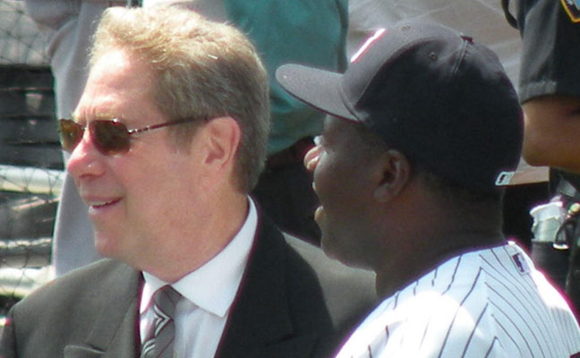 John Sterling no doubt discussing his home runs calls with Charlie Hayes