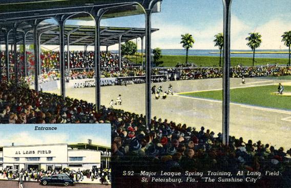 Promotional postcard for Al Lang Field (1947) in St. Petersburg, FL