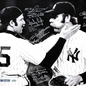 1978 Yankees Multi Signed Thurman Munson With Sparky Lyle B/W 16x20 Photo