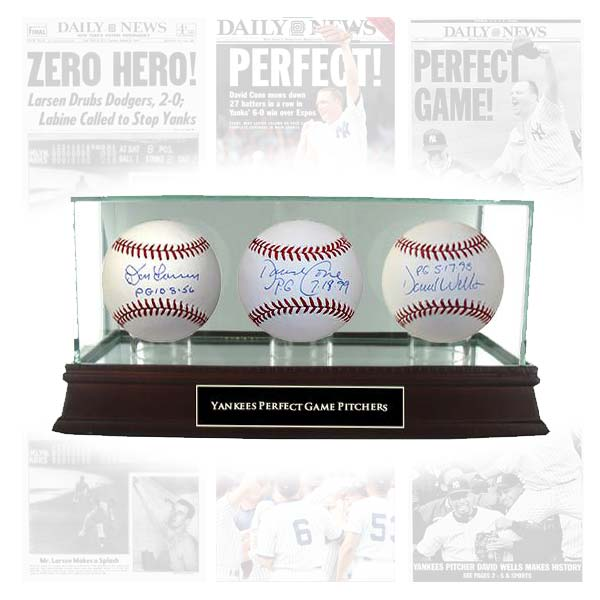 Yankees memorabilia : signed baseballs by Don Larsen David Cone David Wells perfect games