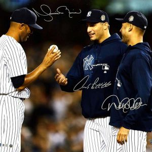 Mariano Rivera's final mound appearance as Andy Pettitte and Derek Jeter take the ball