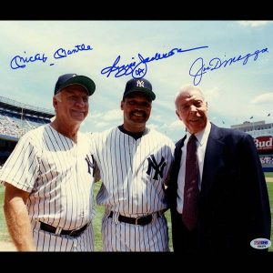 Mickey Mantle, Reggie Jackson, Joe DiMaggio Triple Signed 11x14 color photo