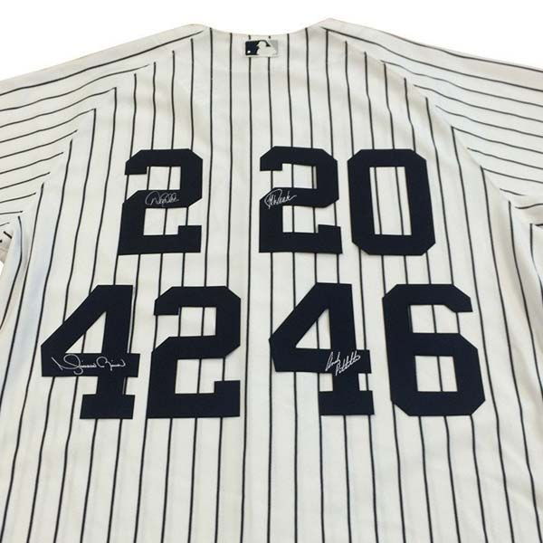 Special Core 4 home jersey signed by Mariano Rivera, Derek Jeter, Jorge Posada and Andy Pettitte.
