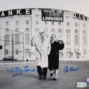 Whitey Ford, Yogi Berra dual signed 8x10 photo outside the old Stadium