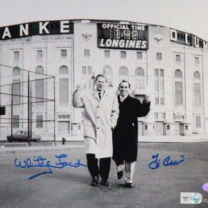 Whitey Ford, Yogi Berra dual signed 8x10 photo outside the old Stadium