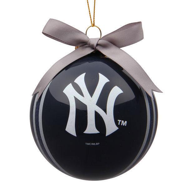 New York Yankees 4 inch Striped Ball Ornament