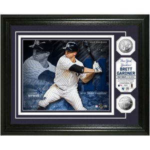 "Brett Gardner New York Yankees Highland Mint 13"" x 16"" Bronze Coin Photo"