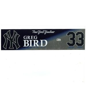 Greg Bird Game Used Locker Name Plate 2017 Season #33
