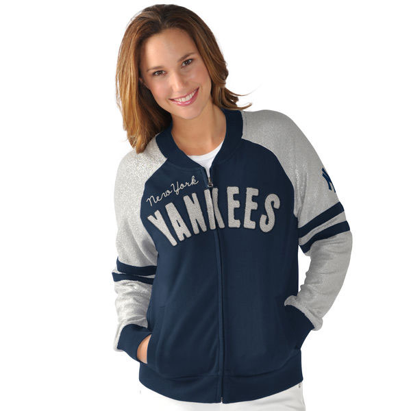 G-III Sports by Carl Banks New York Yankees Women's Navy/Silver Wild Card Varsity Full-Zip Jacket