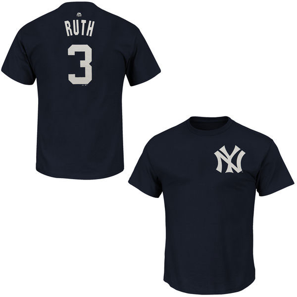 Babe Ruth New York Yankees Majestic Cooperstown Player Name & Number T-Shirt