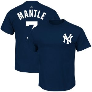 Mickey Mantle T-Shirt : New York Yankees Majestic Cooperstown Name and Number Tee : Moiderer's Row Store
