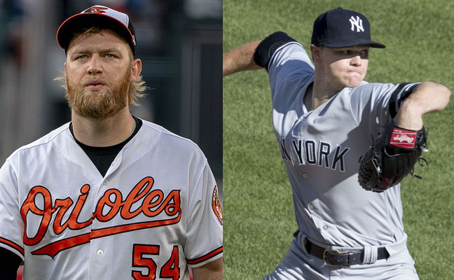 Andrew Cashner and Sonny Gray, starters for Baltimore Orioles vs New York Yankees on May 31, 2018 at Camden Yards in Baltimore