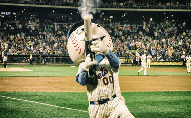 Mr. Met firing indiscriminately in the crowd at Citi Field