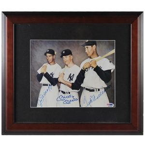 Mickey Mantle Joe Dimaggio Ted Williams Triple Signed Photo - Moiderer's Row Shop