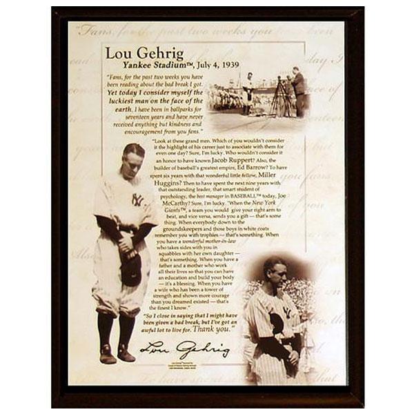 Lou Gehrig July 4 1939 Speech 8x10 Plaque