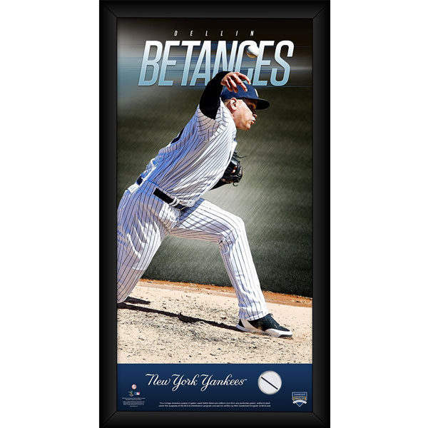 Dellin Betances 10x20 wall poster with swatch of game used jersey