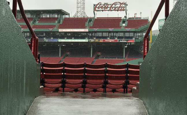 A rainy afternoon at Fenway Park in Boston.