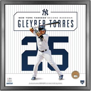 Gleyber Torres 14x14 photo with game used Yankee Stadium dirt