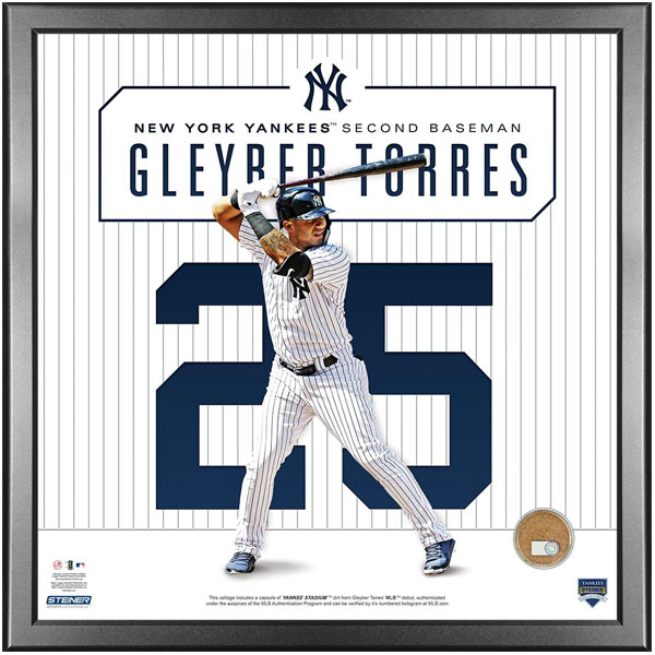 Gleyber Torres 14x14 photo with game used Yankee Stadium dirt