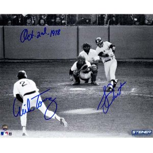 Dual signed photo of Bucky Dent's home run in Fenway on Oct 2 1978
