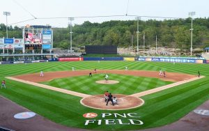 A photo of PNC Field from behind home plate, the home of the New York Yankees Triple-A affiliate the Scranton/Wilkes-Barre RailRiders.