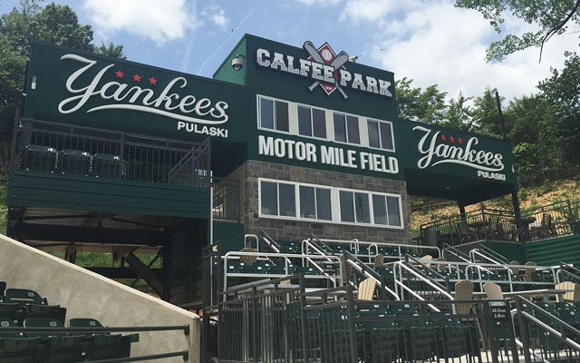 Photo of the pressbox at Calfee Park, in Pulaski Virginia, home of the Pulaski Yankees