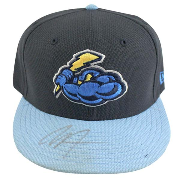 Trenton Thunder cap signed by New York Yankees rising star pitcher Chance Adams in 2017
