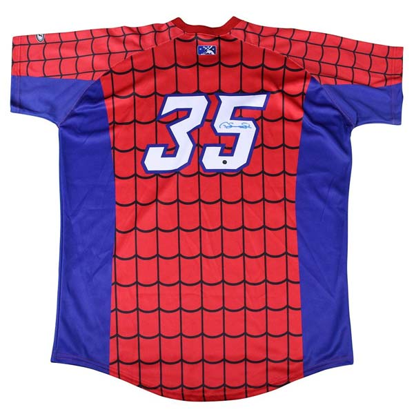 Gary Sanchez signed promotional Spiderman jersey for the Trenton Thunder in 2014