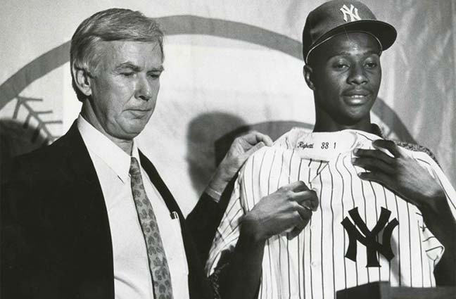 Yankees GM Gene 'Stick' Michael and top pick Brien Taylor in 1991