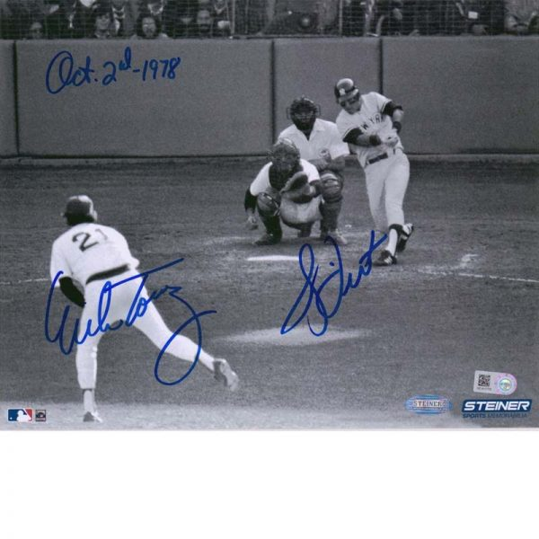 1970 Yankees memorabilia Bucky Dent HR off Mike Torres dual signed 8x10 photo - Moiderers Row Shop