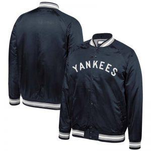 Yankees men's big and tall satin full-snap jacket at Moiderers Row Shop