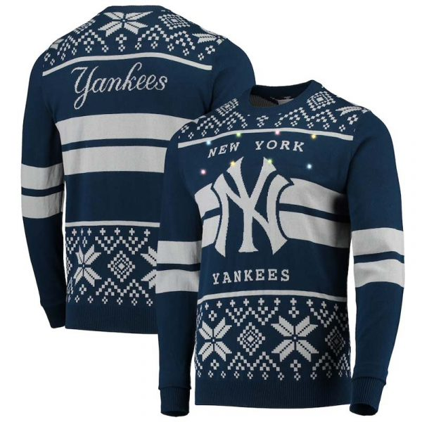 Yankees ugly holiday sweater with lights
