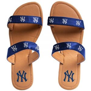 new york yankees womens double strap sandals